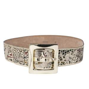Roberto Cavalli Gold Lasercut Patent Leather Buckle Waist Belt 95CM
