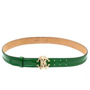 Roberto Cavalli Green Patent Leather RC Logo Buckle Belt 100CM