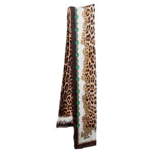 Roberto Cavalli Animal & Jewel Print Silk Scarf