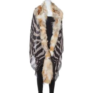 Roberto Cavalli Pale Brown Fur Lined Modal & Cashmere Shawl