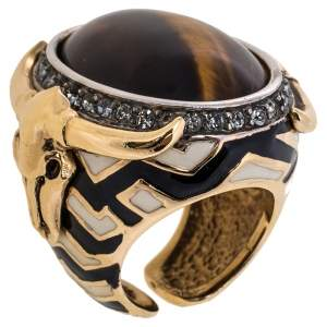 Roberto Cavalli Tiger's Eye Enamel Crystal Gold Tone Adjustable Cocktail Ring Size 54.5