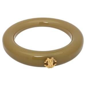 Roberto Cavalli Green Resin Gold Tone Logo Bangle Bracelet