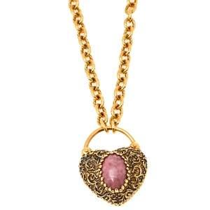 Roberto Cavalli Gold Tone Pink Stone Heart Pendant Necklace
