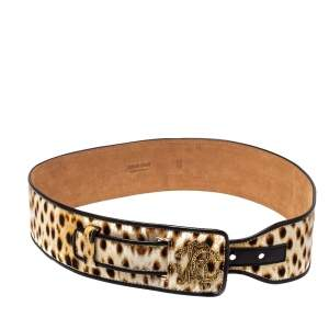 Roberto Cavalli Brown Leopard Print Canvas and Leather Waist Belt 80 CM