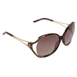 Roberto Cavalli Gold/Brown Clerodendro 669S Oversized Oval Sunglasses