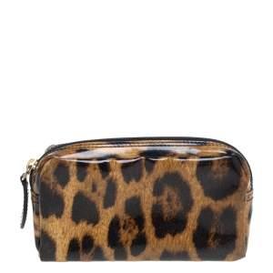 حقيبة أدوات تجميل صغيرة روبرتو كافالي جلد لامع نقشة الفهد بني/بيج