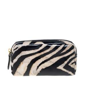 Roberto Cavalli  Black/Beige Zebra Print Patent Leather Cosmetic Pouch