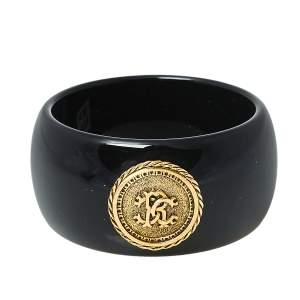 Roberto Cavalli Black Medallion Wide Bangle Bracelet