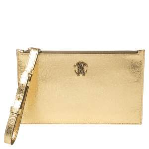 Roberto Cavalli Gold Crackled Leather Zip Pouch