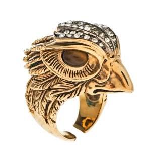 Roberto Cavalli Crystal Gold Tone Crystal Eagle Head Cocktail Ring Size EU 54
