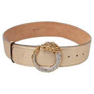 Roberto Cavalli Gold Leather Dragon Buckle Belt 80CM