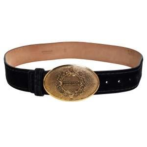 Roberto Cavalli Black Suede Plaque Buckle Belt 85CM