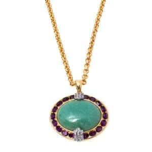 Roberto Cavalli Crystal Gold Tone Pendant Necklace