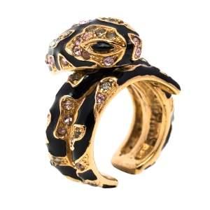 Roberto Cavalli Snake Head Crystal Enamel Gold Tone Adjustable Cocktail Ring Size 50.5