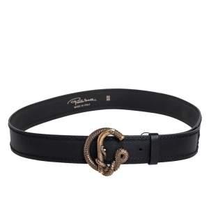 Roberto Cavalli Black Leather Snake Buckle Belt 95 CM