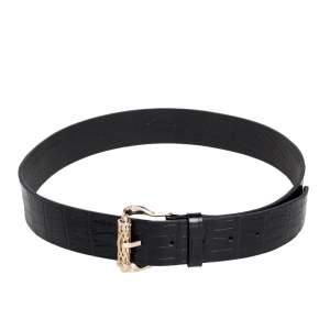 Roberto Cavalli Black Croc Embossed Leather Buckle Belt 105 CM
