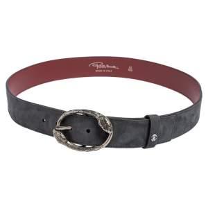 Roberto Cavalli Grey Suede Snake Buckle Belt 100 CM