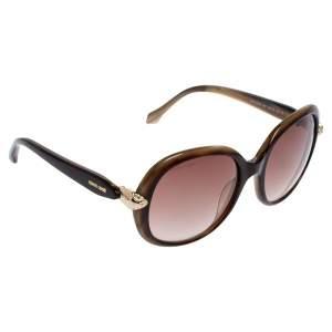 Roberto Cavalli Brown Havana/ Mauve Gradient Keid Oval Sunglasses