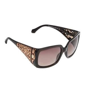 Roberto Cavalli Crystal Embellished / Brown Gradient Aldebaran 804S Square Sunglasses