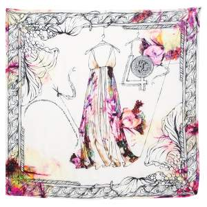Roberto Cavalli Multicolor Illustration Print Special Edition Silk Scarf