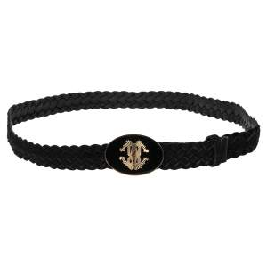 Roberto Cavalli Black Suede and Leather Braided Logo Oval Buckle Belt
