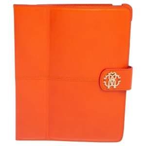 Roberto Cavalli Orange Leather Logo Buckle Detail Tablet Case