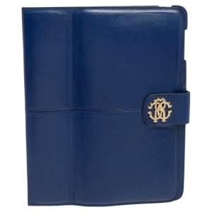 Roberto Cavalli Blue Leather Logo Buckle Detail Tablet Case