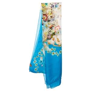 Roberto Cavalli Blue Floral Printed Silk Stole