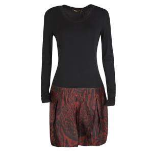 Roberto Cavalli Colorblock Long Sleeve Animal Print Skirt Detail Dress M