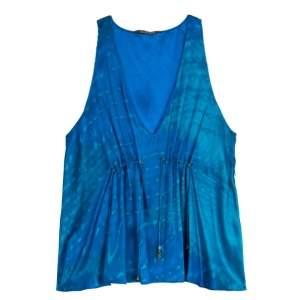 Roberto Cavalli Blue Silk Sleeveless Blouse L