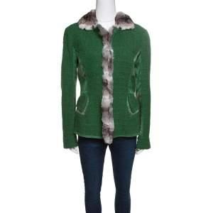 Roberto Cavalli Green Textured Wool Fur Trim Jacket M