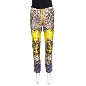 Roberto Cavalli Multicolor Floral and Bird Printed Silk Pants S