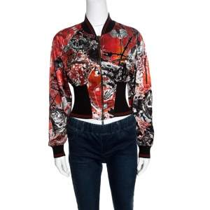 Roberto Cavalli Red Floral and Snake Printed Satin Bomber Jacket S