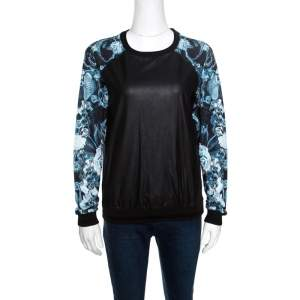 Roberto Cavalli Gym Faux Leather Detail Raglan Sleeve Sweatshirt S