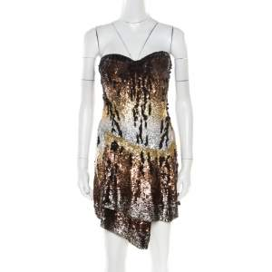 Roberto Cavalli Multicolor Sequin Embellished Strapless Bustier Dress M