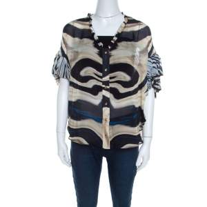 Roberto Cavalli Multicolor Striped Silk Batwing Sleeve Ruffled Top S