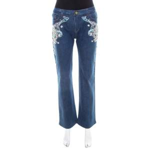 Roberto Cavalli Blue Crystal Embellished Denim Wide Leg Jeans L