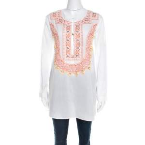 Roberto Cavalli White Cotton Beaded Embroidered Detail Long Sleeve Blouse S
