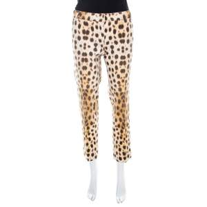 Roberto Cavalli Beige Leopard Print Cotton Tapered Ankle Grazer Trousers M