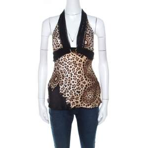 Roberto Cavalli Brown Cheetah Print Silk Tulle Trim Halter Top S