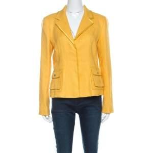 Roberto Cavalli Yellow Textured Linen Blend Button Front Blazer M
