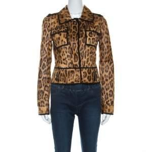 Roberto Cavalli Brown Leopard Pattern Goatskin Fur and Suede Jacket S