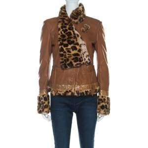 Roberto Cavalli Brown Leather Fur Lined Jacket M