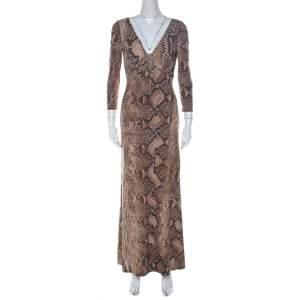Roberto Cavalli Brown Python Print Front Lace Detail Maxi Dress M
