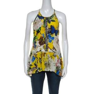 Roberto Cavalli Yellow Printed Silk Lace Detail Halter Top M