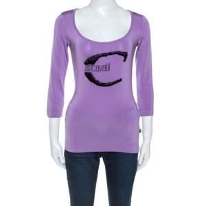 Roberto Cavalli Lilac Jersey Embellished Logo Scoop Neck Top S
