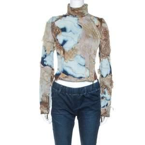 Roberto Cavalli Multicolor Acid Wash Denim Distressed Patch Detail Jacket S