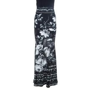 Roberto Cavalli Black Floral Print Knit Chain Detail Maxi Skirt L