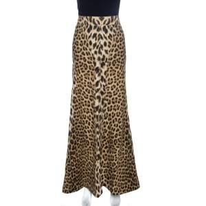 Roberto Cavalli Brown Leopard Print Cotton Maxi Skirt M
