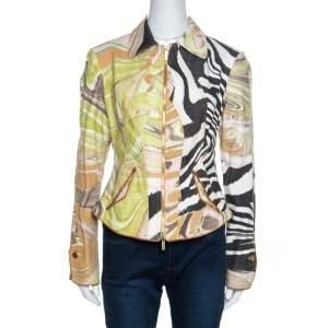 Roberto Cavalli Multicolor Abstract Print Cotton Zip Front Jacket M